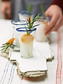 Anise schnapps with dried apricots and rosemary