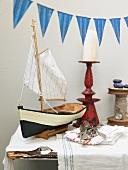 A model ship decorating a fish buffet