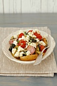Oven-baked vegetables with feta, olive oil and thyme