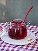 Cranberry jelly in a jam jar