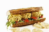 Curried Chicken Salad Sandwich with Potato Chips