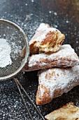 Beignets with Powdered Sugar; Fried Dough