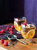 Two Glasses of Raspberry Orange Iced Tea
