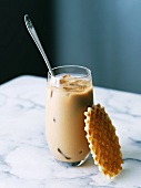 Iced Latte with a Waffle Cookie