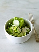 Small Bowl of Green Salad made with Romaine Lettuce, Cucumbers and Dill; Fork