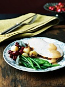 Thanksgiving Plate; Sliced Turkey with Gravy, Green Beans, Onions and Cranberries