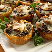 Mushroom Tartlets with Mozzarella Cheese