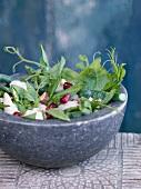 Prawn, bean and pomegranate seed salad