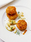 Carrot and potato fritters with a cucumber and dill medley