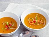 Sweet potato soup in bowls