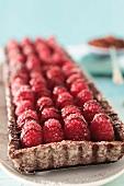 Raspberry tart with chocolate