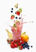 A splash of banana, strawberry, blueberry, kiwi and grapefruit smoothie