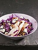 Red cabbage and lentil salad with pears, Roquefort and walnuts