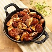 Potato and Chorizo Roasted in a Cast Iron Pan
