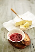 Camembert and lingonberry compote
