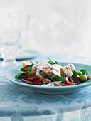 Chicken salad with chorizo and garlic mayonnaise