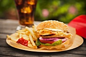 Chicken Sandwich with French Fries; Soda
