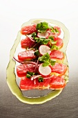 Ceviche de Atun; Fresh Tuna with Radishes and Scallions