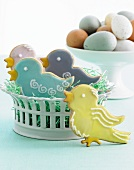 Decorated Easter Cookies; Dish of Easter Eggs