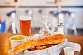 Fried Fish with Chips; Mushy Peas and a Glass of Beer