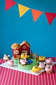 Bauernhof-Kuchen für die Kinderparty