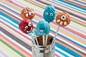 Cake Pops decorated as colorful monsters