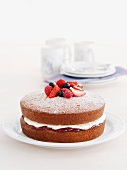 Mini cakes with cream-marmalade filling and fresh berries