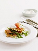 Hash browns with smoked salmon and creme fraiche