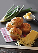 Cheese muffins with spring onions