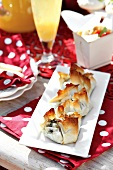 Filo pastry parcels filled with chicken and spinach