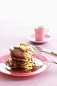 Pancakes with butterscotch sauce