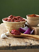 Bowl of Kidney Beans with Chili Ingredients