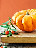 Orange Pumpkin with Berry Branch on a Board