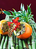Persimmons with Tropical Flower and Bamboo