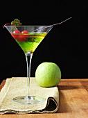 Appletini with Cherry Garnish