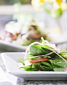 Single Serving of Spinach Salad with Onion and Tomato