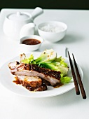 Asian Style Ribs with Chili Sauce with Bok Choy; Chopsticks