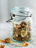 Muesli with dried fruit in jar