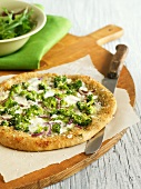 Pizza verde (broccoli and red onion pizza, Italy)