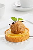Lemon tart with mocha ice cream and chocolate