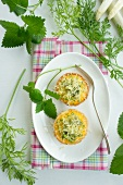 Asparagus muffin with carrot leaves and lemon balm