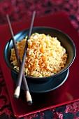 A bowl of turmeric rice