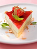 A slice lime and strawberry cake