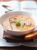 Porcini mushroom soup with toasted bread