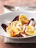 Tortelli alla povigliana (tortelli with nuts and radicchio)