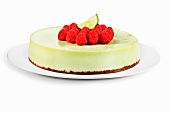 Key Lime Cheesecake Topped with Raspberries