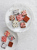 Various decorated with chocolate pralines