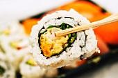 Chopsticks holding maki sushi