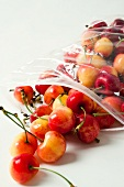 White cherries in a plastic bag