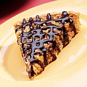 Slice of Pecan Tart with Chocolate Drizzle